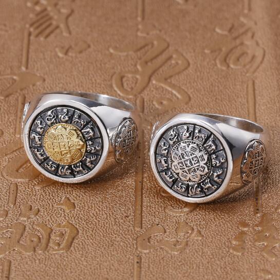 Vintage 100% 925 argent tibétain Tantra bouddhiste symboles bague en argent Sterling neuf sens huit symboles anneau bonne chance anneau