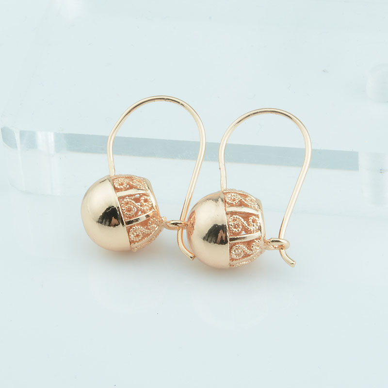 1 Pair Women Girls Gold 585 Color Drop Earrings Round Ball Bead Carve Jewelry Small Middle Large(China)