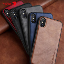 X-Level Leather Case For iPhone X XS Max Cases Luxury Ultra Light Soft Silicone edge Shockproof Cover Coque XR