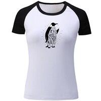 Chim cánh cụt Chỉ Cần Nụ Cười và Sóng Raglan Ngắn Tay Áo T Shirt Nữ Girl Ladies Làm Việc Chăm Chỉ & Được Loại T-Shirt Hip Hop Bông áo thun