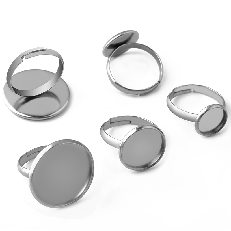 10pcs Stainless Steel Jewelry Fashionable  Men's Women Cabochon Ring Blank Base 8 10 12 14 16 18 20mm Jewelry Making Accessories