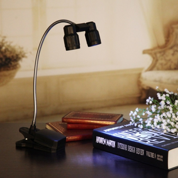 3W 6 LED Adjustable Double Heads Clip On Table Light Flexible ...