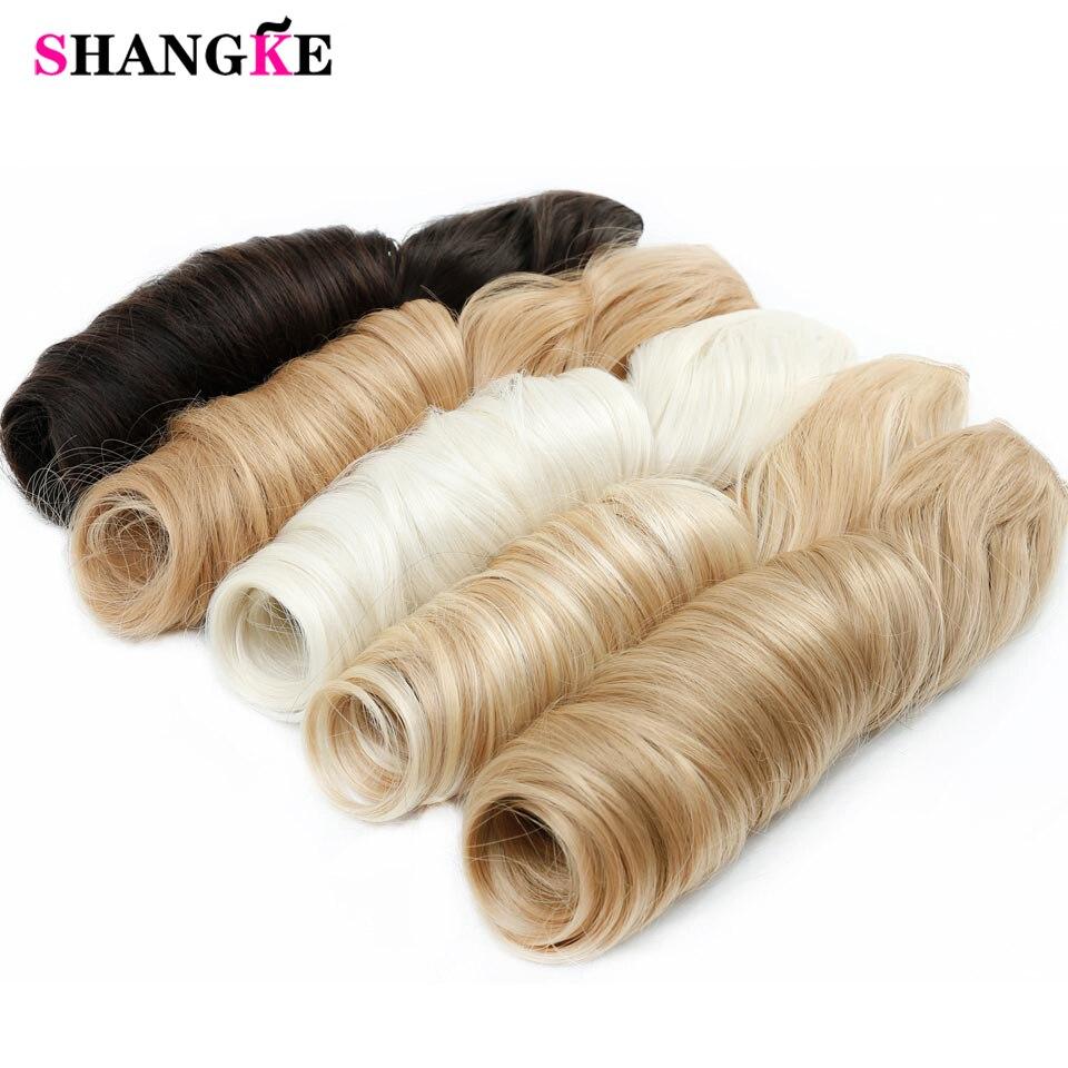 SHANGKE 28 '' ארוך גלית 5 קליפ בהרחבות שיער עמידות חום סינתטי זיופים מלאכותי טבעי שיער שקר חתיכות שיער נשים