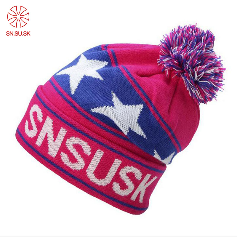 e4fb173ce89 Fashion Snowboard Winter Ski Hats Warm Woolen Caps For Men Women High  Quality Star Hairball Female Beanies Sports Hat-in Skullies   Beanies from  Apparel ...