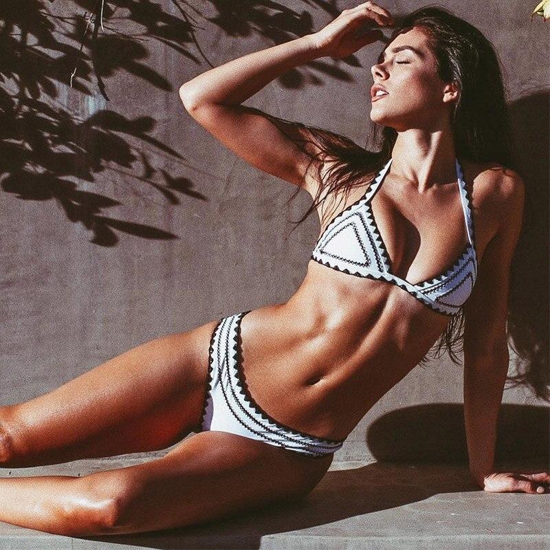 2020 New Sexy Bikinis Women Swimwear Push Up Swimsuit Halter Top Biquini Padded Bathing Suit Bandage Brazilian Bikini Set 3