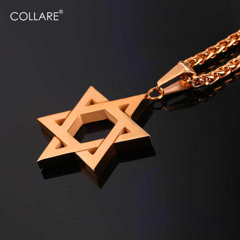 Collare Magen David Star Men Chain Necklaces & Pendants Women Stainless Steel Rose Gold Color Israel Jewish Jewelry P572