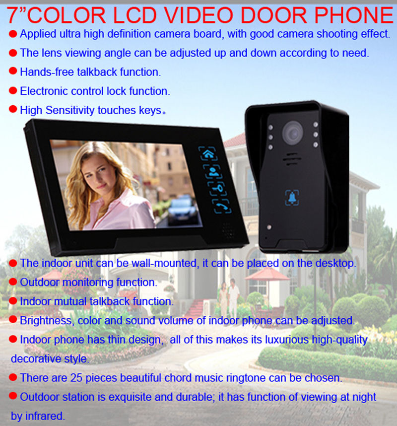 Free shipping Home Security 7 Doorbell Door Phone Wired Intercom Monitor Camera Night Vision