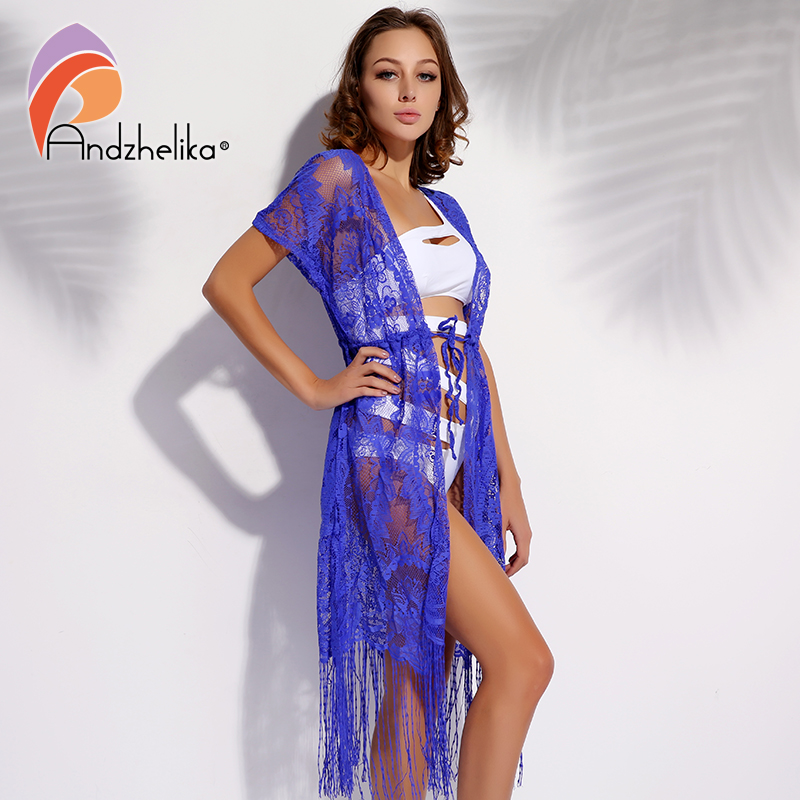 Andzhelika Beach Crochet Summer Hollow Out Women Sexy Bathing Swimsuit Cover Up Floral Chiffon Bikini Cover Up Dress