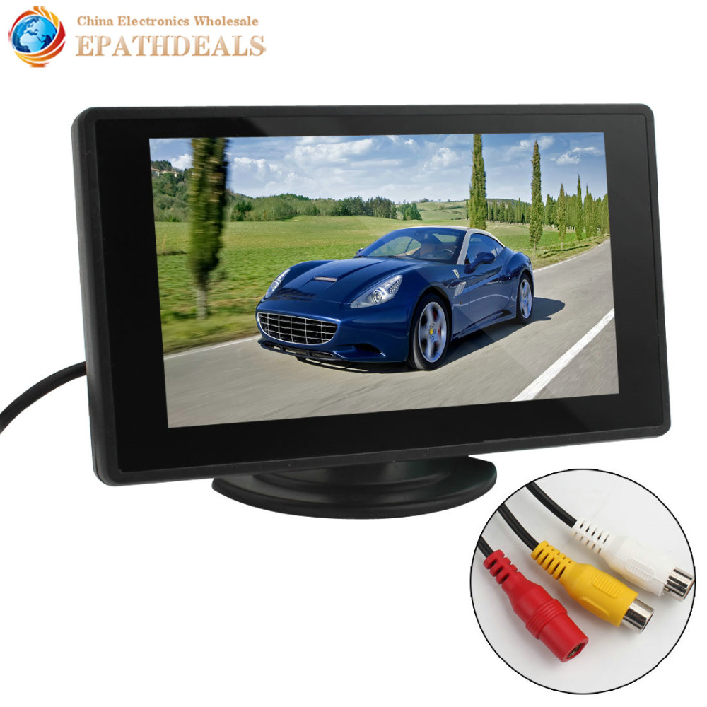 4.3 Inch Color TFT LCD Parking Car Rear view Monitor Car Rearview Backup Monitor 4.3'' 2 Video Input for Reverse Camera DVD