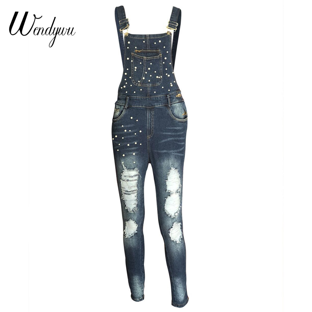 4df4403a4586 Wendywu 2018 Autumn Women Denim Overalls Jumpsuits Ripped Holes Casual  Pockets Sleeveless Jumpsuits Hollow Out Slim Rompers. 1. 2. 20807-1 20807-2  20807-3 ...