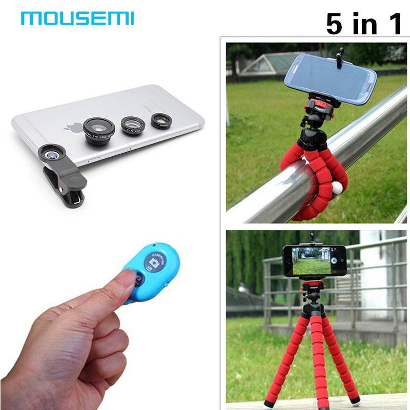 MOUSEMI factory store Fisheye 3in1Len Wide Angle Len Macro Lens with Tripod Bluetooth shutter for iPhone 5 5s 6 6s 7 plus Samgung Mobile Phone Lenses