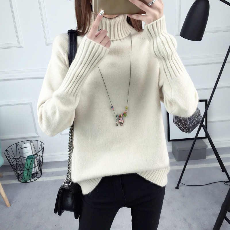 겨울 새로운 여성 니트 패션 터틀넥 풀오버 스웨터 여성 니트 긴 소매 두꺼운 따뜻한 스웨터 재킷 femme 트리코