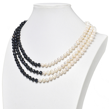 The Size For 7-8mm 3rows Natural Pearls Dark Black Beads Mixed with White Beads Pearls Necklace 18inch Making Diy jewelry H473