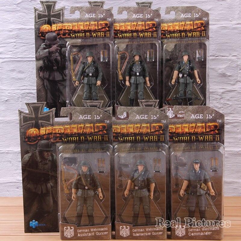 1/18 échelle Machine/Assistant sous-Machine Gunner commandant Action modèle jouet allemand Wehrmacht PVC figurine à collectionner 6 pièces/ensemble
