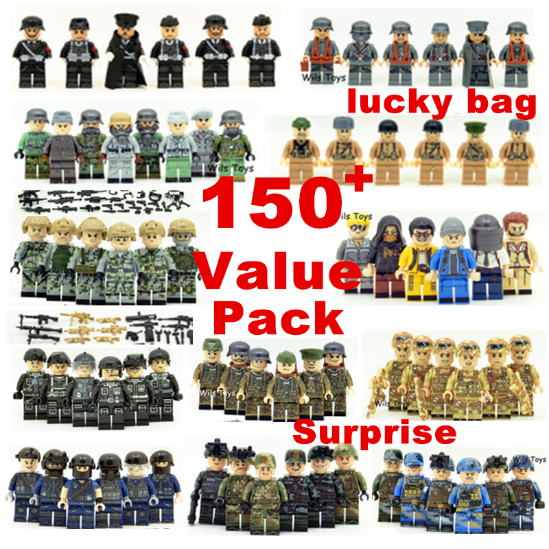20pcs Random Style Surprise Value Pack SWAT Police World War 2 Military Soldier Army K98k Special forces Figures Toys Lucky bag 6pcs swat team city police world war 2 military soldier army special forces building blocks brick figures toys boy gift children