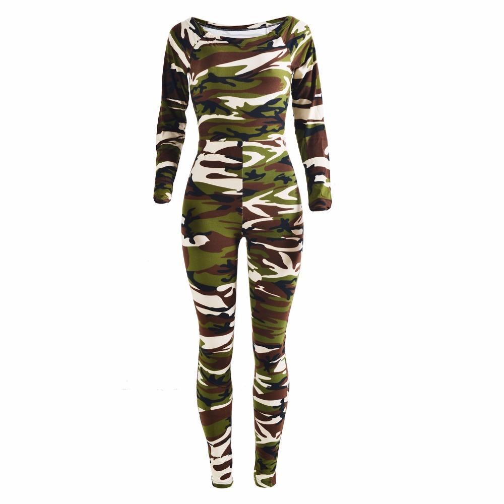 5ffde787f796 Adogirl Off Shoulder Long Sleeve Women Camouflage Jumpsuits Autumn 2017  Sexy Bodycon Rompers Plus Size Womens Playsuits Green-in Jumpsuits from  Women s ...