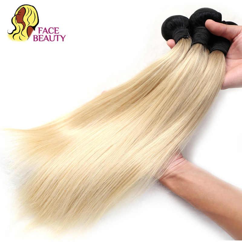 Уход за кожей лица Красота 1B 613 эффектом деграде (переход от темного к светлые бразильские прямые волосы в пучках 2 тона темные корни Платиновый Remy человеческие волосы 1/3/4 Связки