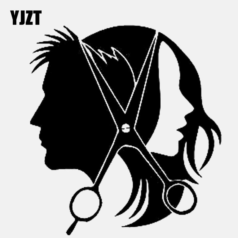 YJZT 13.2CM * 14.4CM Salon güzellik saç makas saç vinil siyah/gümüş araba Sticker C22-0057