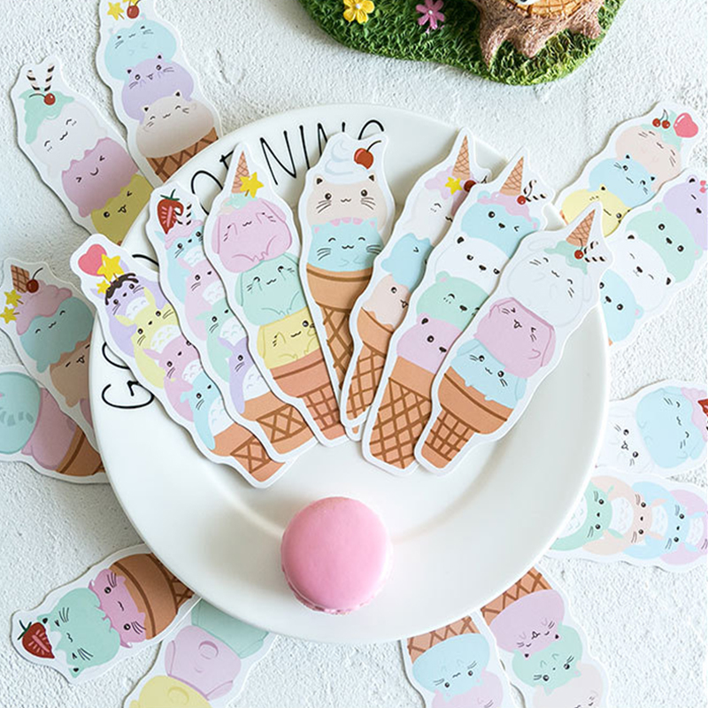 30pcs/pack Kawaii Ice Dumplings Paper Bookmark Page Holder Message Label Cards School And Office Suppliers Stationery