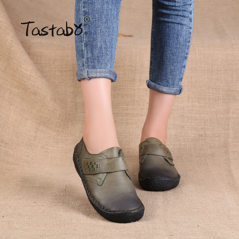 Tastabo Fashion Ladies Shoes Women Genuine Leather Flats Casual Soft Loafers Shoes Female Driving Flats Hook Loop Women Flats christina fitzgerald гель атлас для ванны sensations 175мл