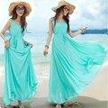 2016 nuevo verano de gran tamaño de las mujeres vestido de tirantes vestido de la playa de Bohemia playa Vestido de Gasa de hadas de la juventud al por mayor