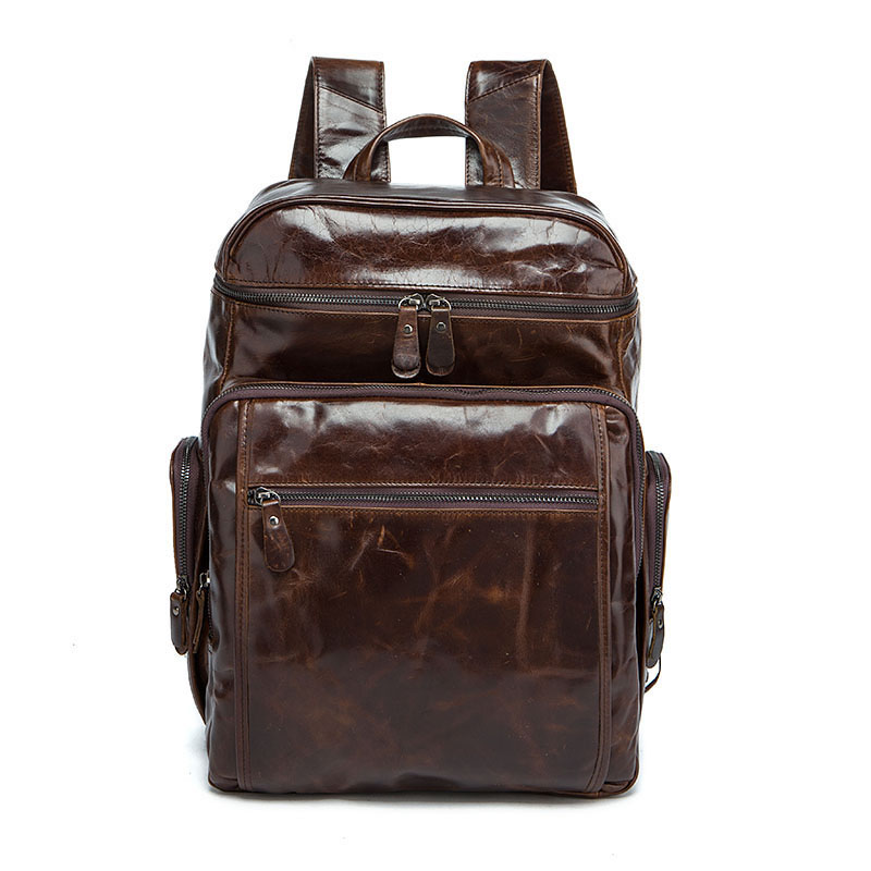 Factory direct Genuine Leather men laptop backpacks Europe and the United States new leather mens large-capacity travel bagsFactory direct Genuine Leather men laptop backpacks Europe and the United States new leather mens large-capacity travel bags