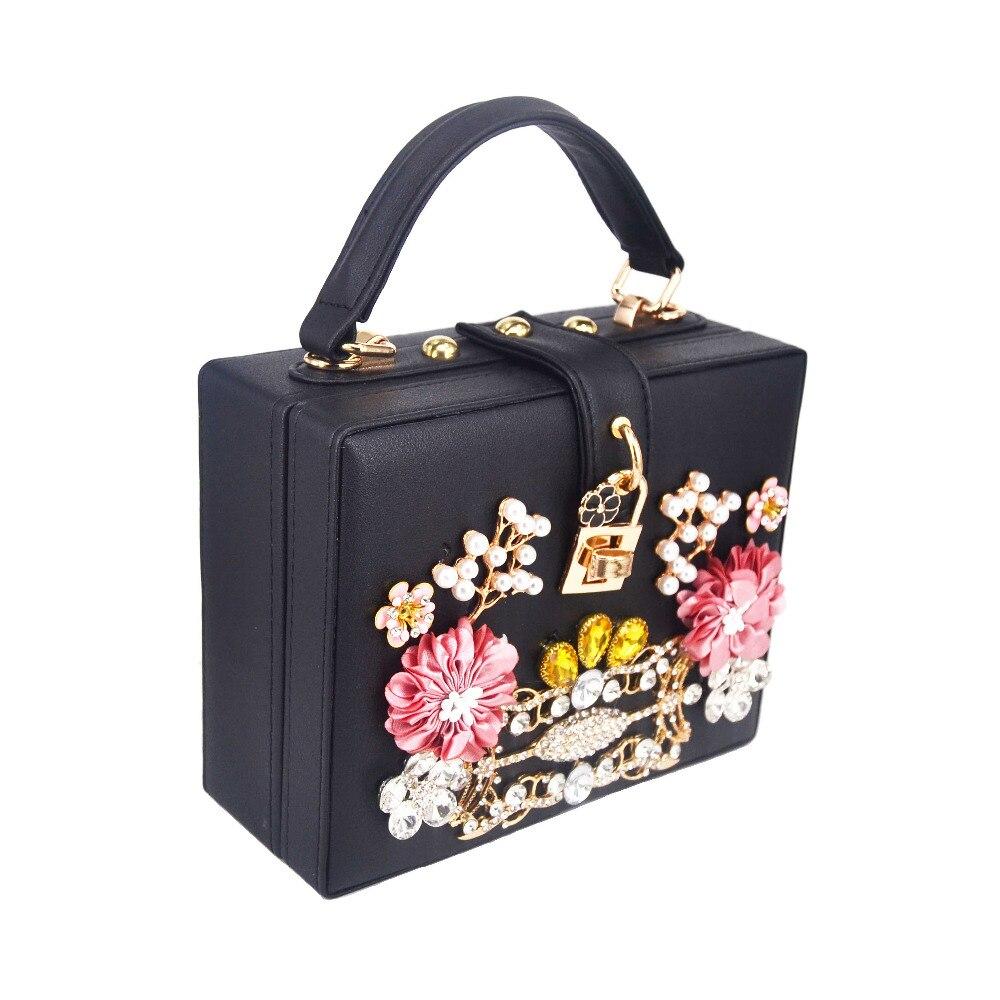 Black Flower Crystal Evening Bag Box Mini Shoulder Bag Women messenger Bags Mini Chain Flap Crossbody Bags-in Shoulder Bags from Luggage & Bags    3