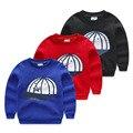 2017 весной и осенью ребенок футболка мальчики ребенка шляпу печати флис пуловеры спортивные кофты детские повседневная топ