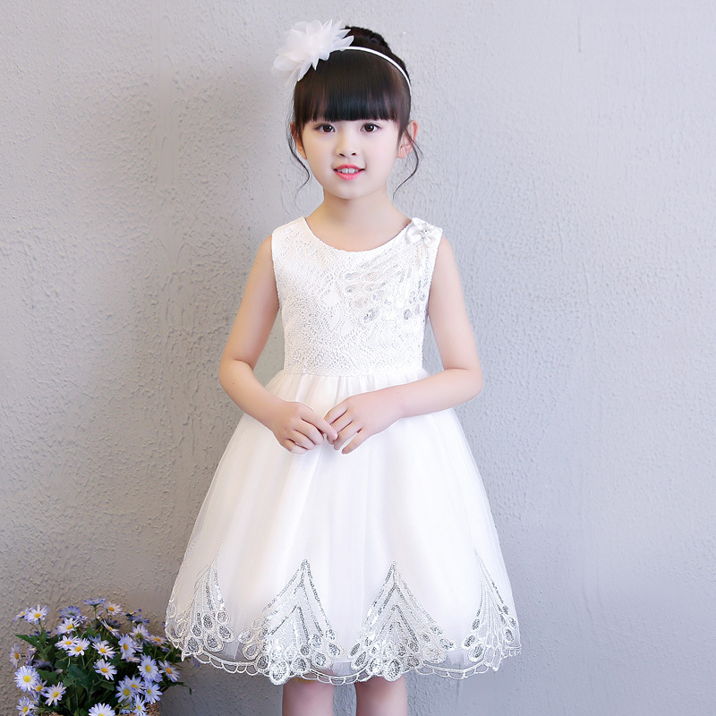 European Style Flower Girls Dress Sequin Wedding Pageant Birthday Party Summer Princess Sleeveless Dresses Kids Clothes 10 Years sunny fashion girls dress butterfly party birthday sundress 2017 summer princess wedding dresses kids clothes size 5 12 pageant