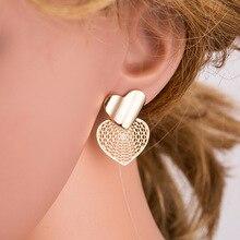 BK Women Heart Stud Earrings Female Retro Antique Gold Silver Simple Stud Earrings Fashion Banquet Party Jewelry simple heart stud earrings