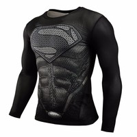 2015 New Hot Compressed T Shirt Superman And Batman Long Sleeved T Shirt Quick Drying Clothes