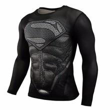 New 2016 Brand Clothing Fitness Compression Shirt Men Superman Bodybuilding Long Sleeve 3D T Shirt Crossfit Super Tops Shirts