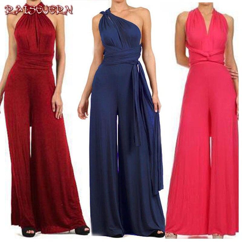 RAISEVERN Bandage Sexy   Jumpsuit   Boho Rompers Women   Jumpsuit   2019 Elegant Summer   Jumpsuit   Multi Way Wear Wrap Wedding Party