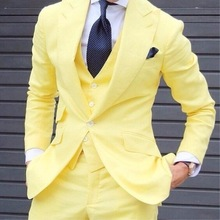 Fashionable Yellow Men Skinny Custom Suits Grooming Tuxedo Mens Blazer Prom Street Set Jacket Vest Pants