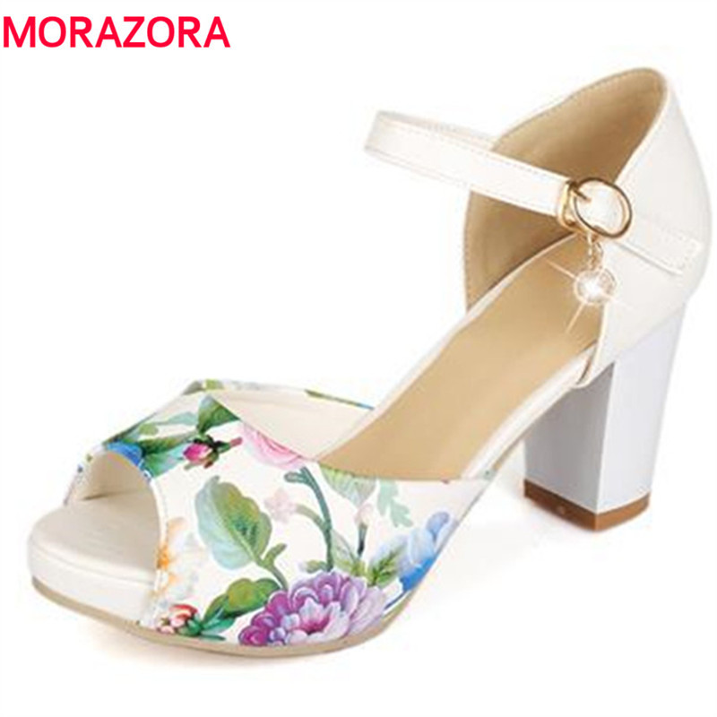 MORAZORA Big size 34-43 Hot sale women sandals ankle strap peep toe ethnic bohemia high heels sandals platform party shoes anmairon shallow leisure striped sandals women flats shoes new big size34 43 pu free shipping fashion hot sale platform sandals