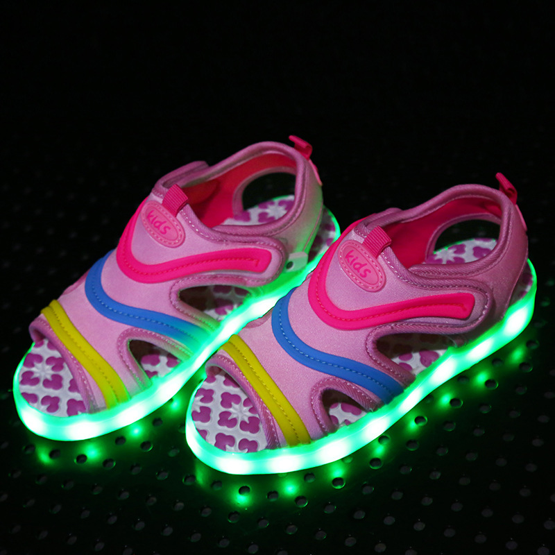 LED Kids Sandals USB Charger Luminous Boys Sandals Girs Summer Shoes Lighting Colorful Glowing Beach Shoes