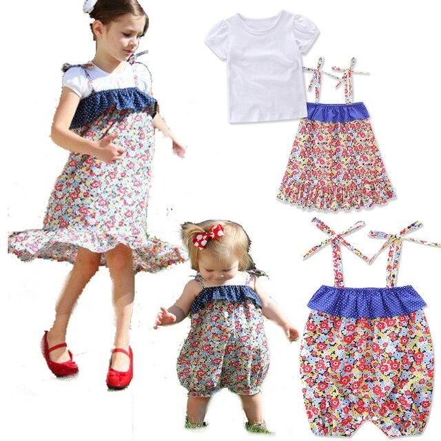 43cab2944502 Abbigliamento famiglia Abiti neonata pagliaccetti capretti T-Shirt + vestiti  set fiore Sorella Corrispondenza Vestiti