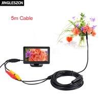 Jingleszcn AV эндоскопа 5 В 5.5 мм диаметр 1 м 5 м 10 м 15 м 20 м инспекции бороскоп камера Экран дисплея 4.3 дюймов TFT ЖК-дисплей Цвет Мониторы