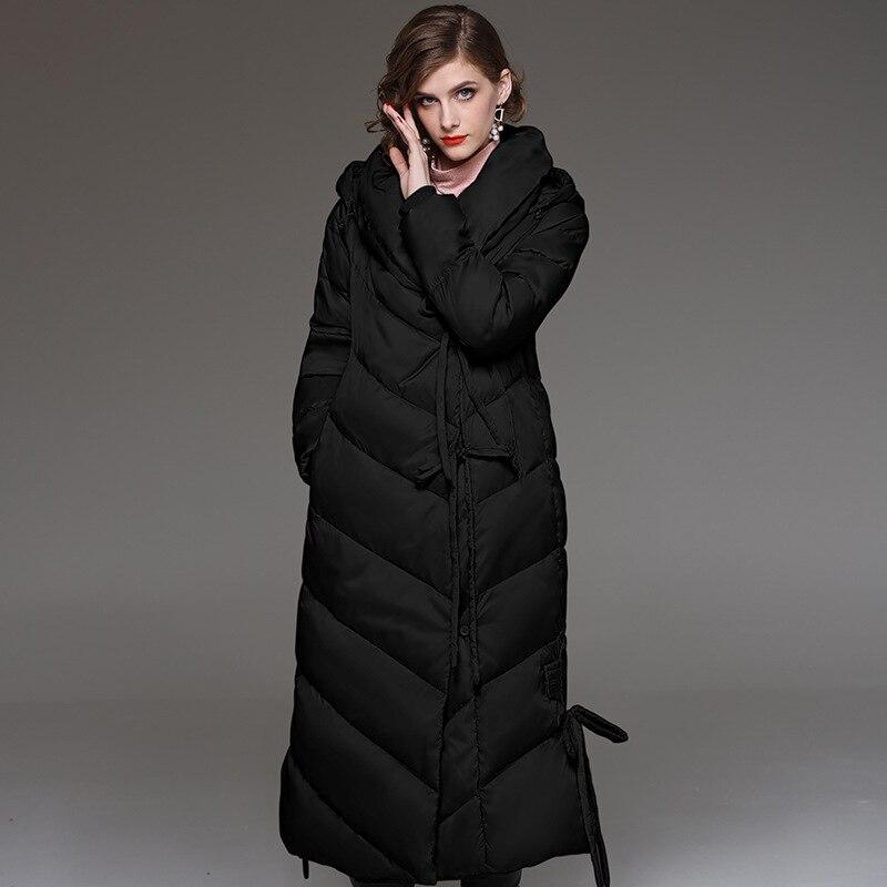 Woxingwosu lady's hooded long down jacket, women's long sleeved warm down coat size M to 2XL