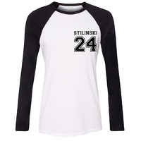 Stiles Stilinski No 24 Teen Wolf Lacrosse Vacation Girls T Shirt For Women Long Sleeves Tops