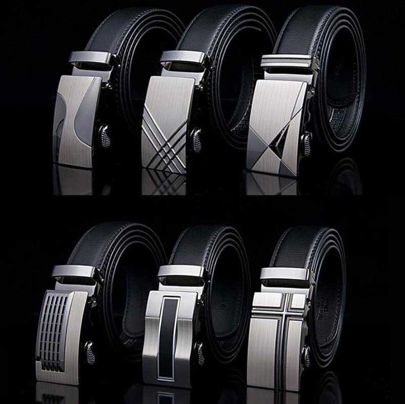 Genuine Leather Strap   Belts   For Men High Quality Automatic Buckle black   Belts   Cummerbunds Cinturon Hombre Business   Belt   Male