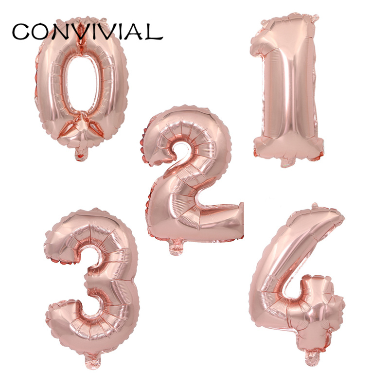 16/32inch Number Birthday Balloon Party Decoration Helium Foil Balloons Rose Gold Inflatable Ballon Air Baloon Party Supply 141