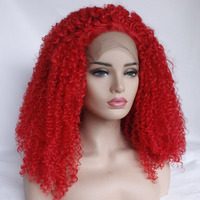 Marquesha Red Kinky Curly Natural Looking Synthetic Lace Front Wigs High Temperature Fiber Lace Front Wigs For Fashion girls