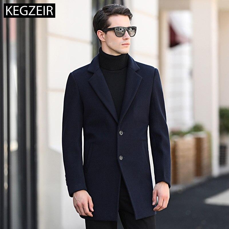 Hiver Laine Manteau Peacoat Gris Epais Longue Marque Slim Noir Veste