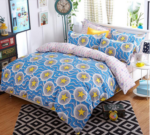 Reactive printing personality polyester golden stars and waves soft comfortable warm 4 pcs bedding sets with double pillow cases