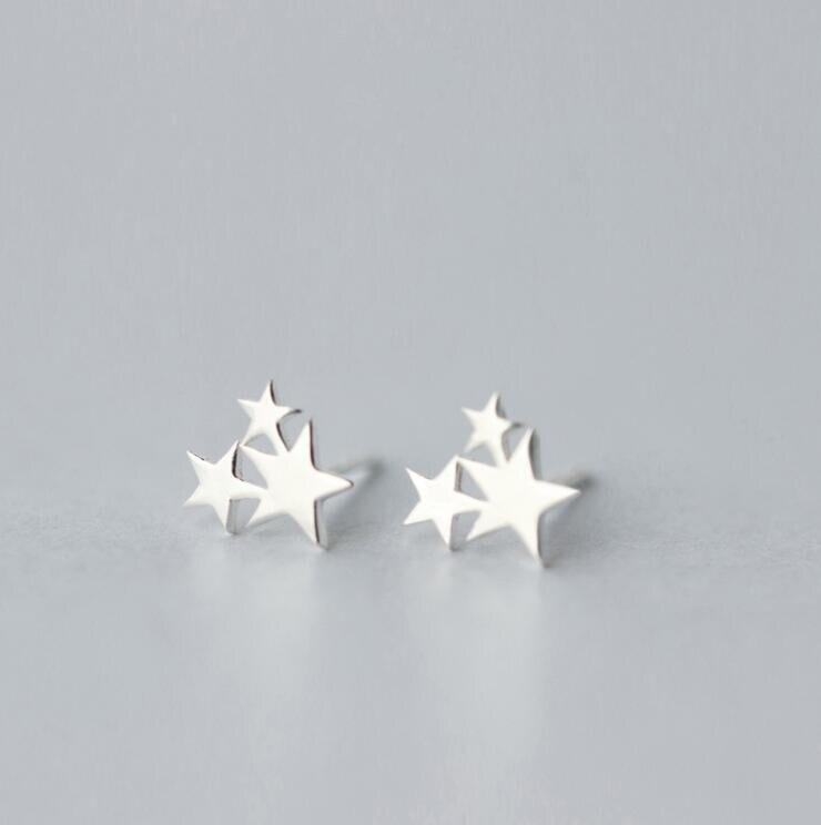 Jewelry Dropshipping New Arrival Best Silver Jewelry Earrings 3 Stars Women Stud Earrings  Gift  New Year gift