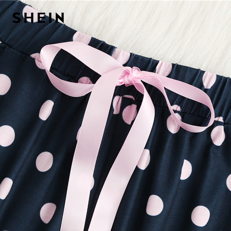 SHEIN Casual Letter Print Tank Polka Dot Pants Pajama Set 2018 Summer Women Scoop Neck Sleeveless Colorblock Preppy Nightwear