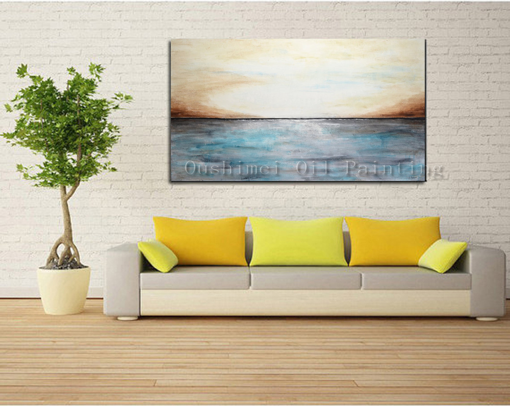 Hand Painted Cheap Oil Painting Hang Paintings Modern Simple Abstract Sea Picture Home Decor Painting On Canvas For Living Room