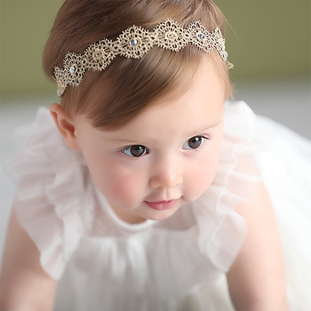New Hair Accessories Girls Turban Headwear Baby Headband Bow Pearl Lace Band White Solid Lovely - discount item  25% OFF Kids Accessories