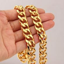 12mm Wide Hip Hop Men Necklace Chains Fashion Solid Gold Color Filled Curb Cuban Long Necklace DIY Chain Charm Unisex Jewelry stylish solid color chain necklace for men